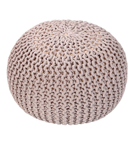 Handmade Round Knitted Pouf- Silver Gray
