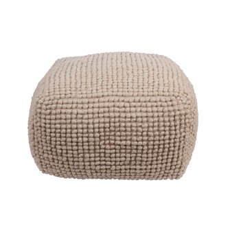 "24"" Sq x 16""H New Zealand Wool & Cotton Pouf, Natural"