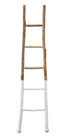 """72.5""""H Decorative Fir Wood Ladder with White Dipped Section"""