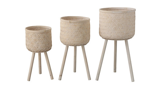 Set of 3 Round Bamboo Floor Baskets with Wood Legs