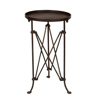 "14-1/4"" Round x 25""H Metal Table, Bronze Finish"