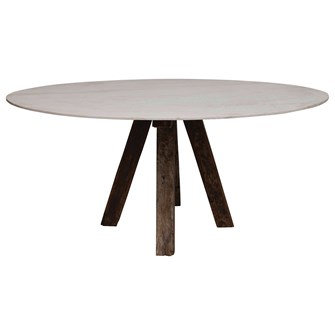 """31""""L x 72""""W x 42""""H Oval Marble Table w/ Reclaimed Wood Legs, Honed Finish, KD"""