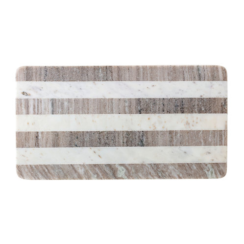 Beige Marble Cutting Board with White Stripe