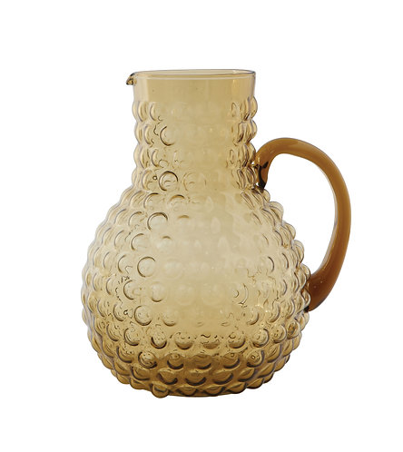 Large Transparent Amber Hobnail Glass Pitcher