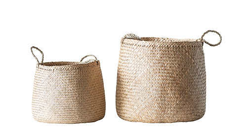 Beige Woven Seagrass Basket with Handles (Set of 2 Sizes)