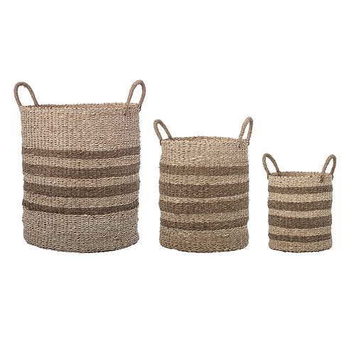 Brown Striped Natural Seagrass & Palm Baskets with Handles (Set of 3 Sizes)