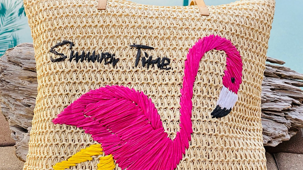 Flamingo straw Beach bag