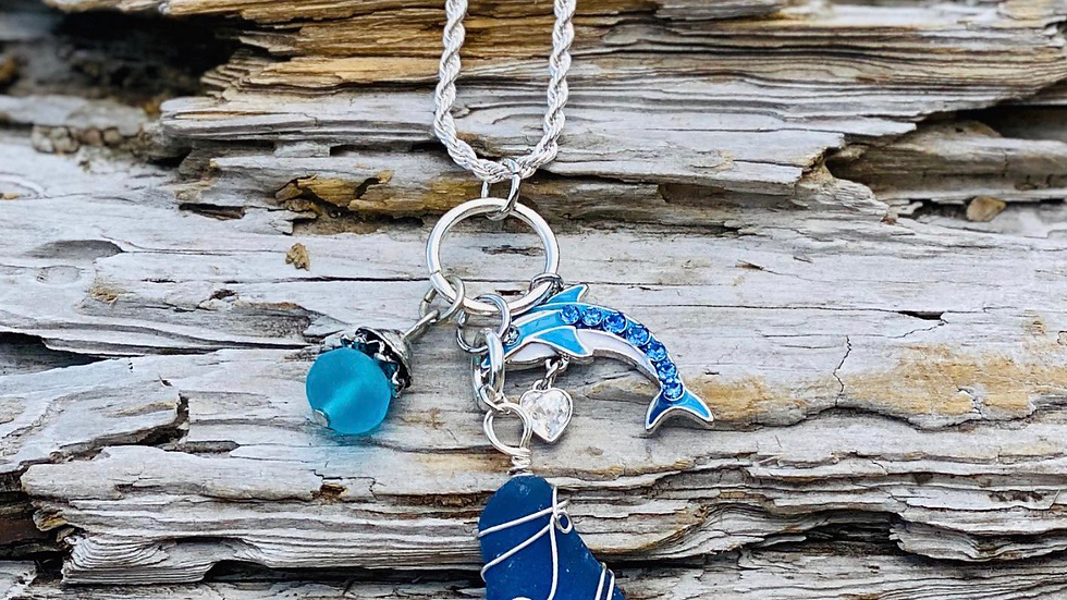 Sea glass necklace with Dolphin