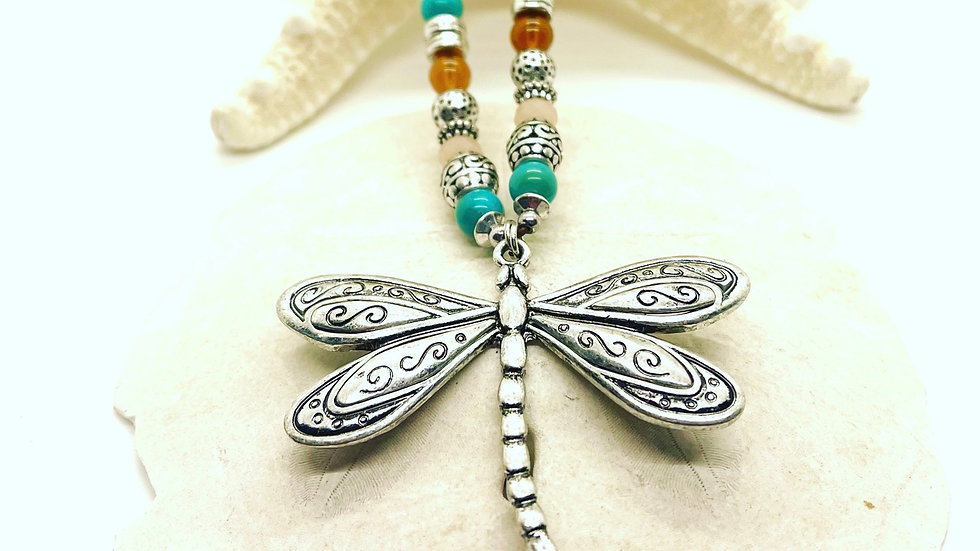 Dragonfly necklace with colorful beads