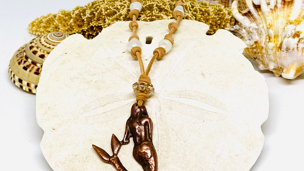 Leather and pearl mermaid necklace