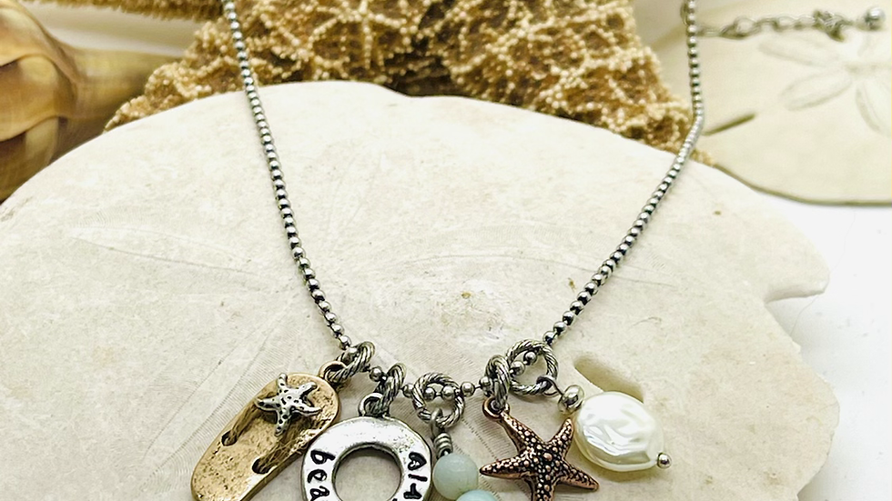 Beautiful charm necklace with beach girl saying