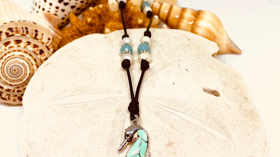 Seahorse leather and pearls with Precious stones necklace