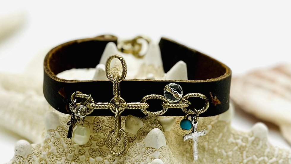 Cross on brown leather bracelet with Cristian charms