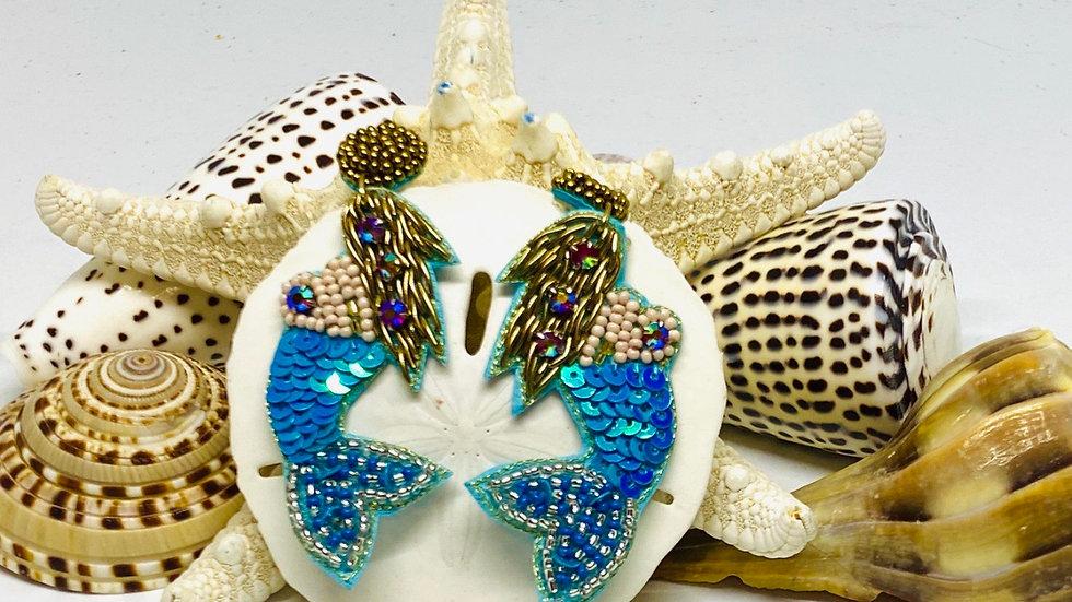 Blue seeded mermaid earrings