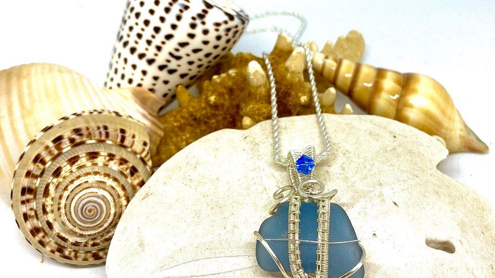 Cauliflower blue sea glass necklace