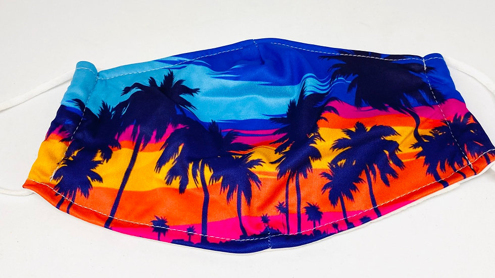 Palm tree mask 100% soft cotton , 3ply with pocket inside for filters
