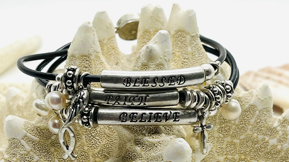 3 leather band bracelet, blessed,Faith and Believe