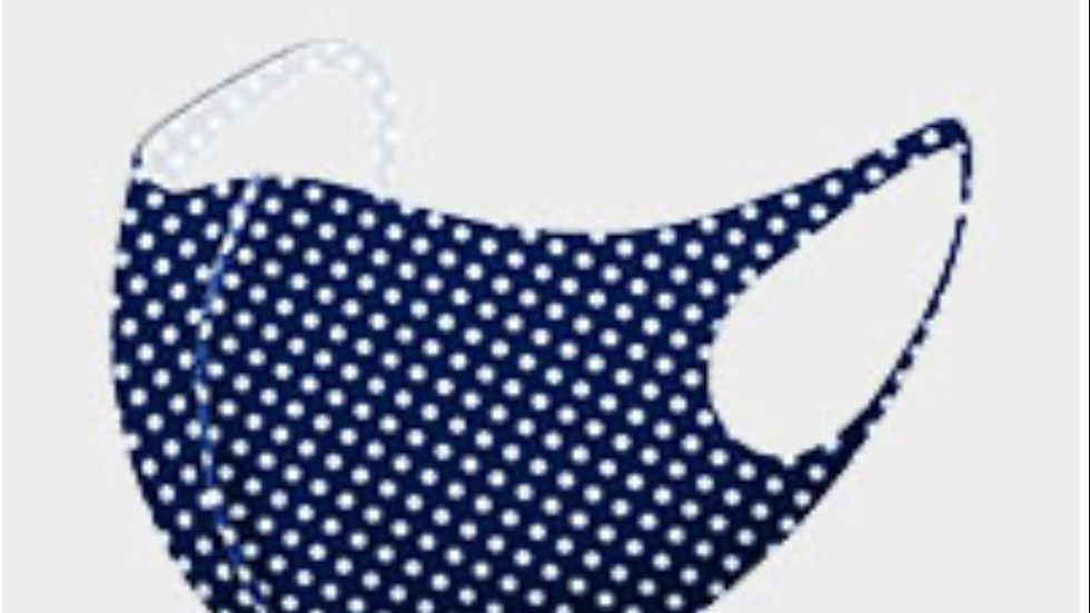 Navy white polkadotted mask