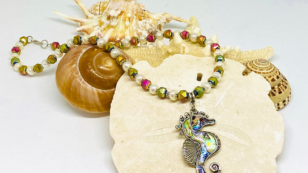 Sea horse mother of pearl necklace