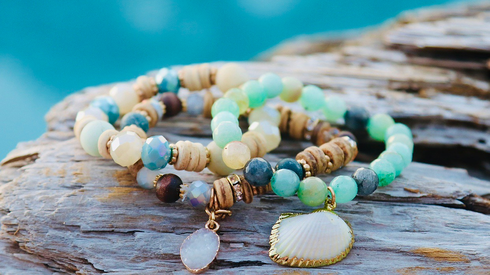 3pc beach with shell bracelet set