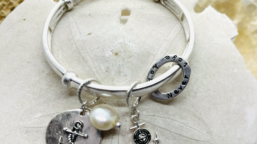 Never lose hope anchor bracelet stretchable