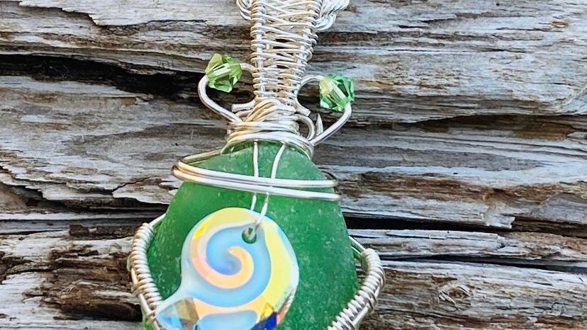 shell seaglass pendant