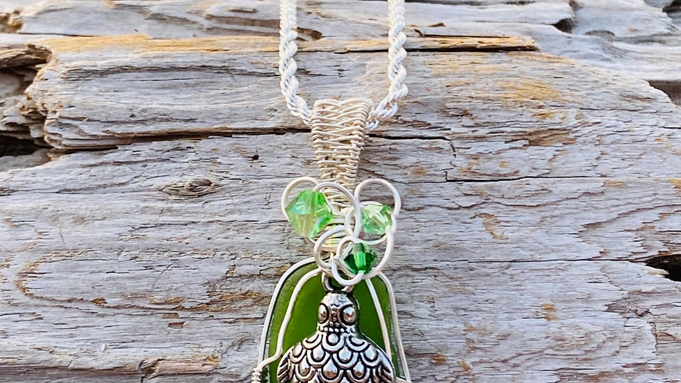 Sea glass with Turtle necklace