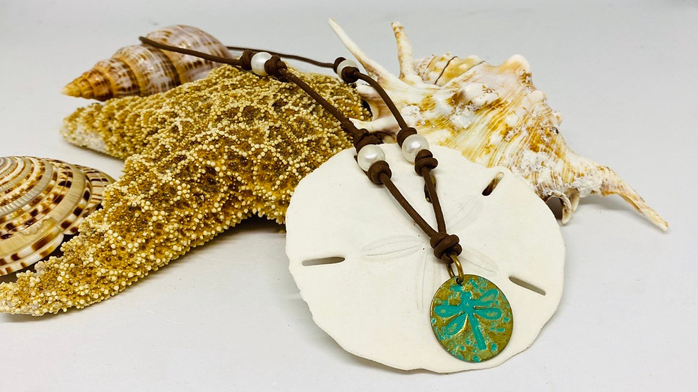 Artesian dragonfly leather in Pearl Necklace