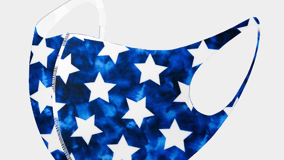 White and blue star mask