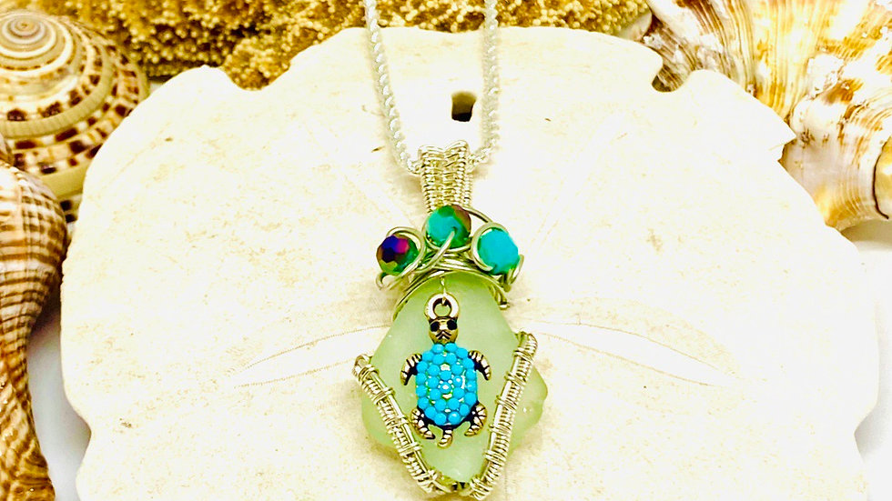 Turtle Seaglass necklace