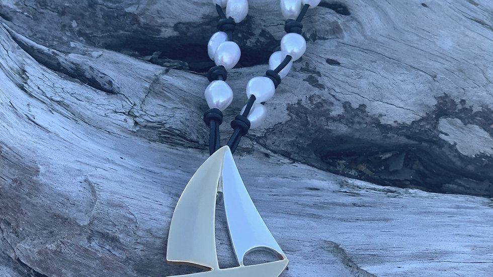 Sailboat Leather and Pearl Necklace