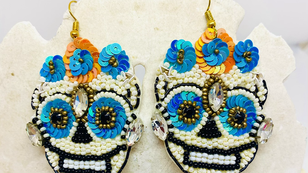 Sequence and beaded Skellington earrings
