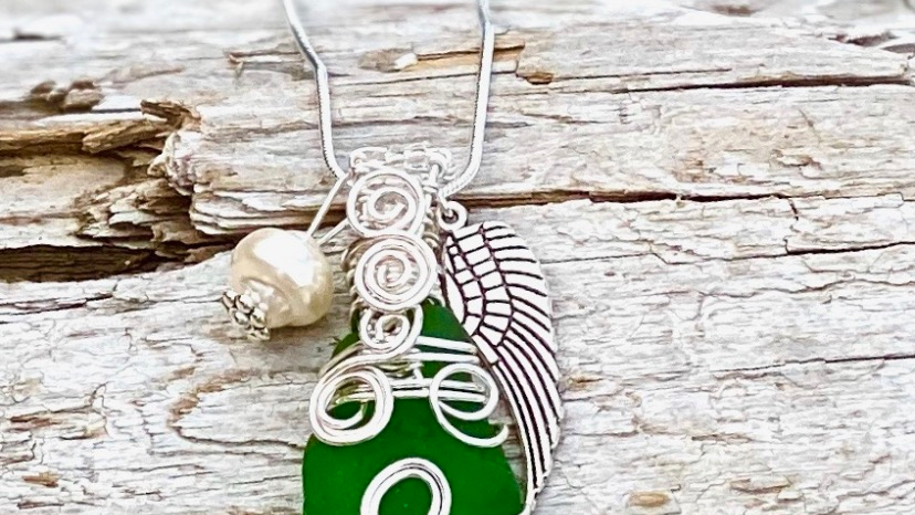 angel wing seaglass necklace