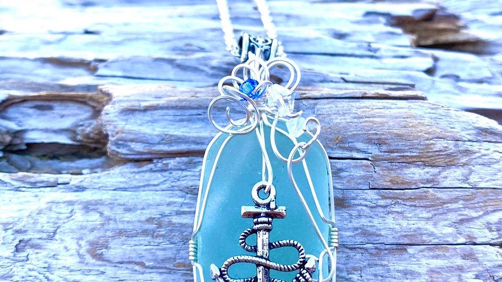Aqua blue anchor Sea glass necklace