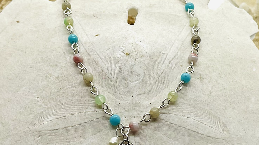 Shell anklet with color beads