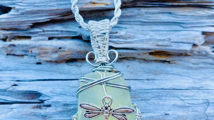 dragonfly seaglass necklace