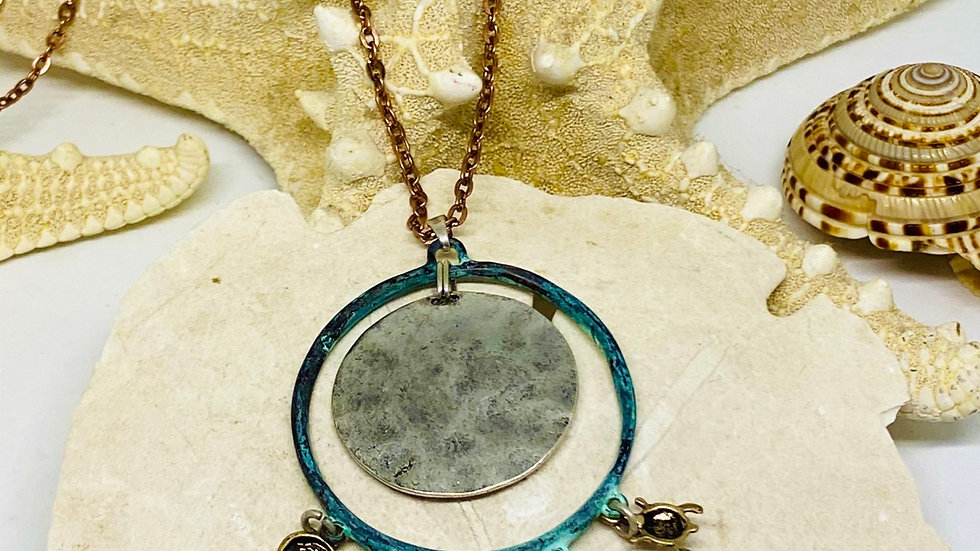 Coastal  Patina necklace on copper 30inch chain