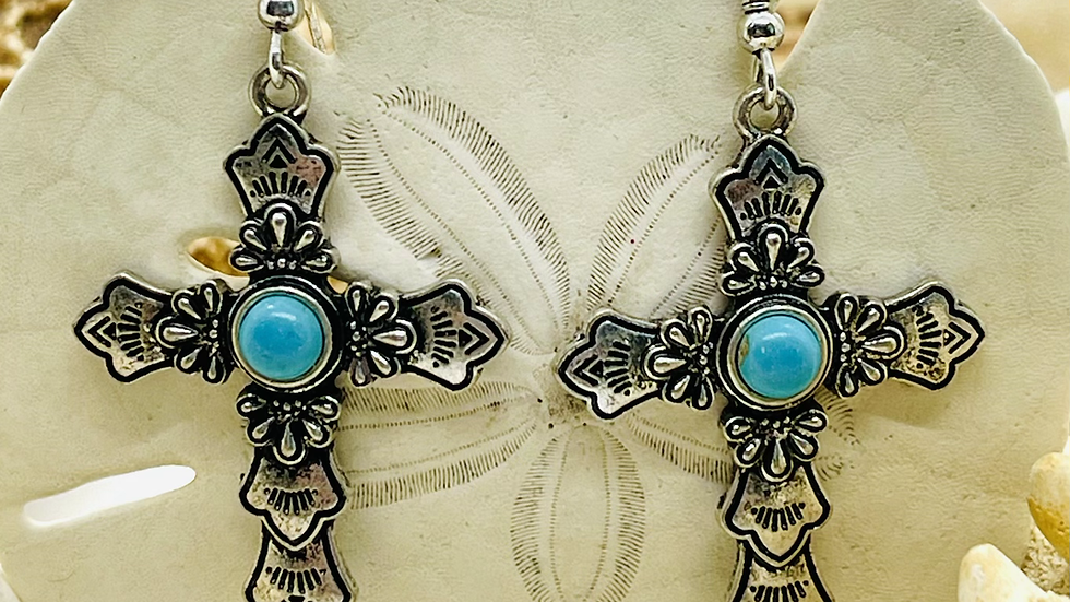 Silver crisis with turquoise center/ Nichael free