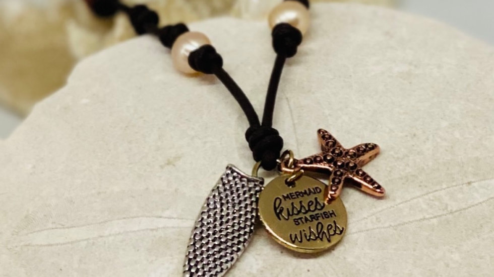 Mermaid Tail necklace /mermaid kisses and starfish wishes