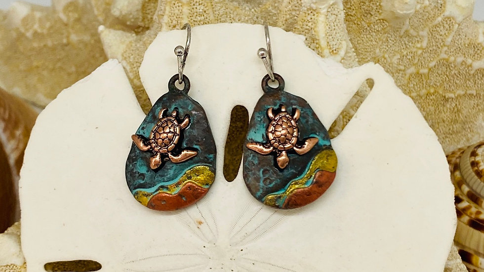 Tri color earrings with copper turtle earrings