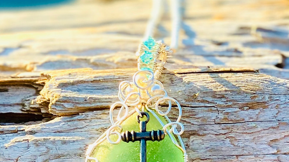 Romanian Seaglass with anchor necklace
