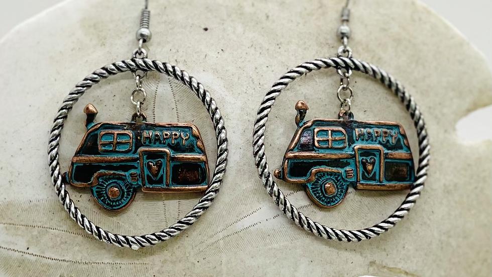 Patina camping earrings