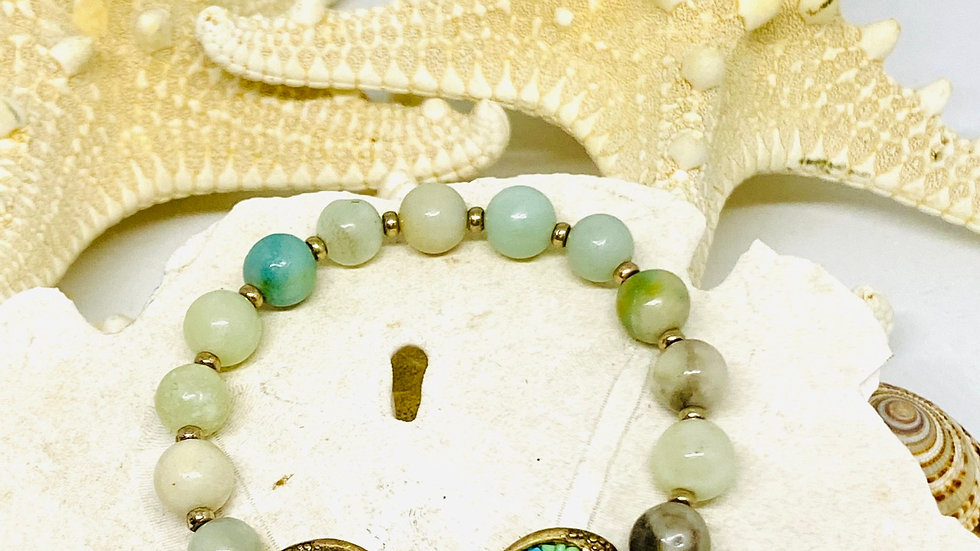 Dragonfly bracelet with ammonite stones