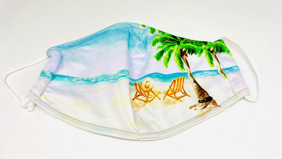 Beach scene mask, 100% Soft cotton , 3ply fabric with inside pocket for filter