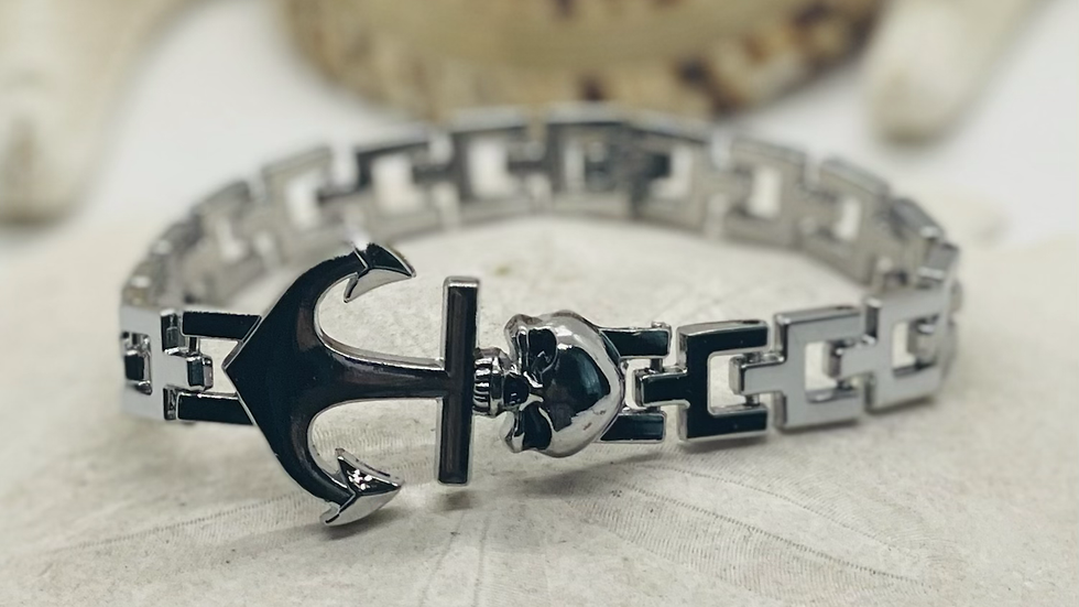 Anchor with Skull chain bracelet, 7 3/4 inches