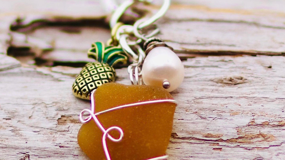 Pineapple sea glass charm necklace