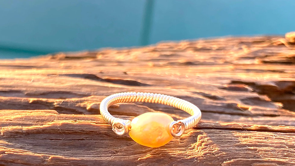 Peach freshwater pearl wire wrapped