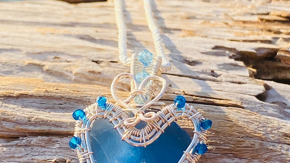 Wire wrapped heart sea glass from spain