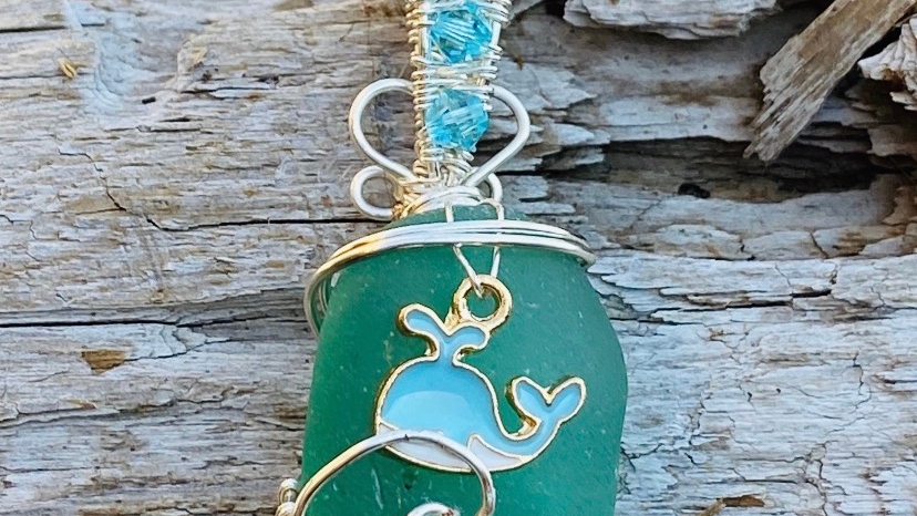 whale sea glass pendant