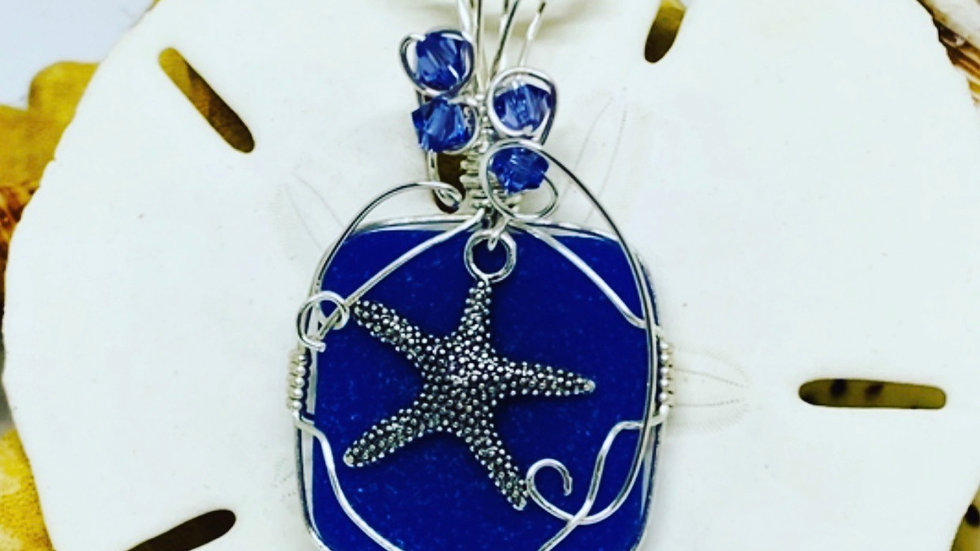 Blue sea-glass necklace come with any length of sterling silver chain